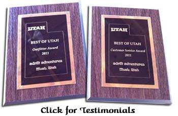 Awards and Testimonials of Adrift Adventures Moab Utah