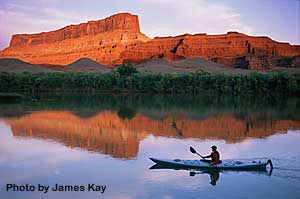Kayak at Sunset Utah Canyonlands Colorado River | Adrift Adventures Moab Utah!