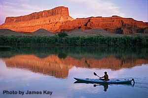 Kayak at Sunset Utah Canyonlands Colorado River   Adrift Adventures Moab Utah!