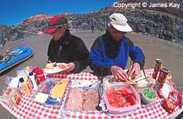 Rafting trip lunch on the colorado river